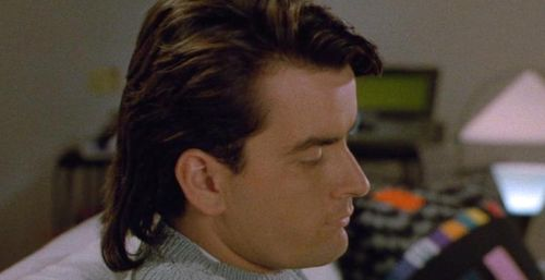 MEN AT WORK Charlie Sheen Mullet