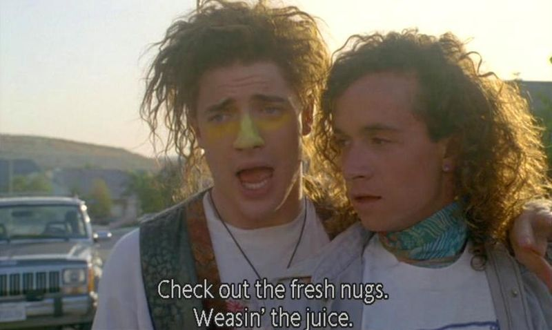ENCINO MAN Brendan Fraser and Pauly Shore line