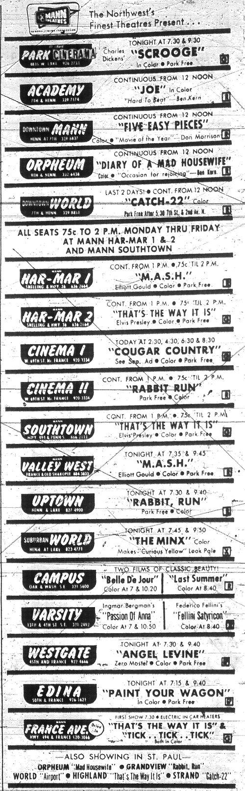Minnesota Movie Ad 1970