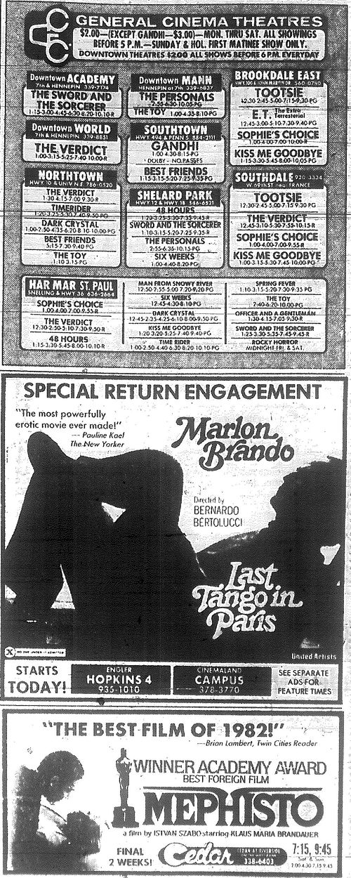Minnesota Movie Ads 1983 1