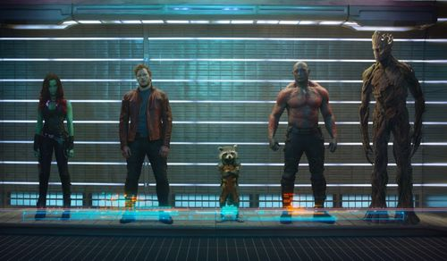GUARDIANS OF THE GALAXY Chris Pratt Bradley Cooper Zoe Saladana Vin Diesel